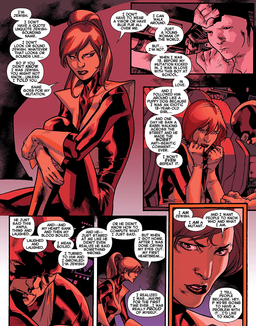 Kitty Pryde describes an early experience with antisemitism in All New X-Men #13 (Art by Stuart Immonen)
