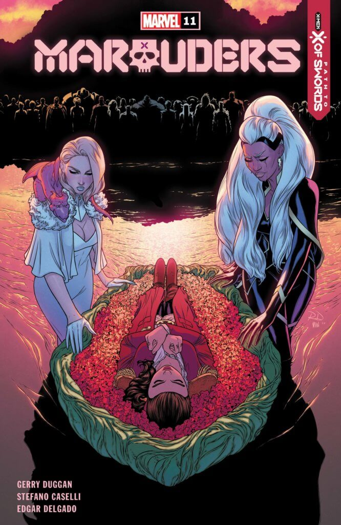 Emma and Storm lay Kate to rest in a coffin on the water in Marauders #11 review
