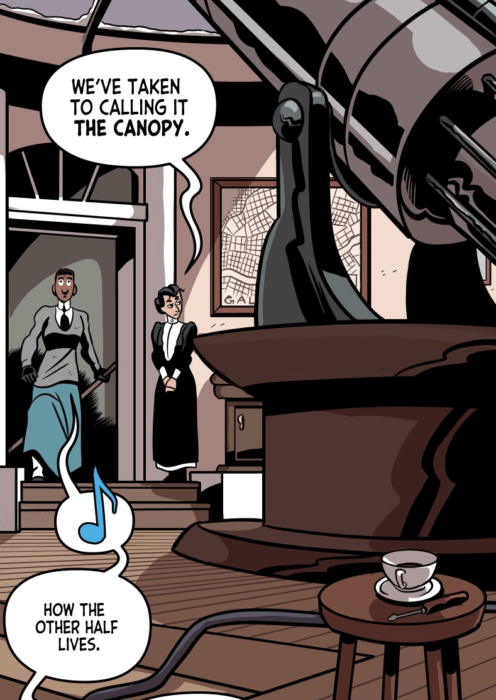 """A panel from Lavender Jack showing the interior of a secret space in Sir Mimley's home. Ducky is saying """"we've taken to calling it the canopy."""" Crabb whistles and says """"how the other half lives."""""""