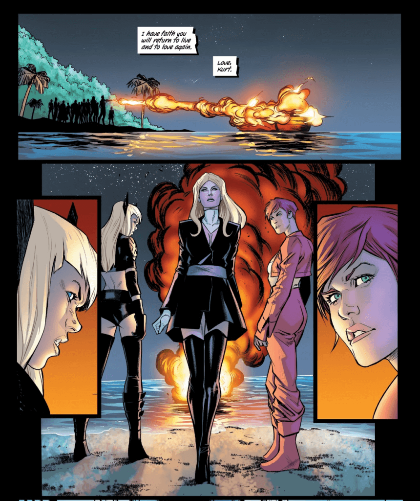 Emma Frost walks away from Kitty Pryde's cremation