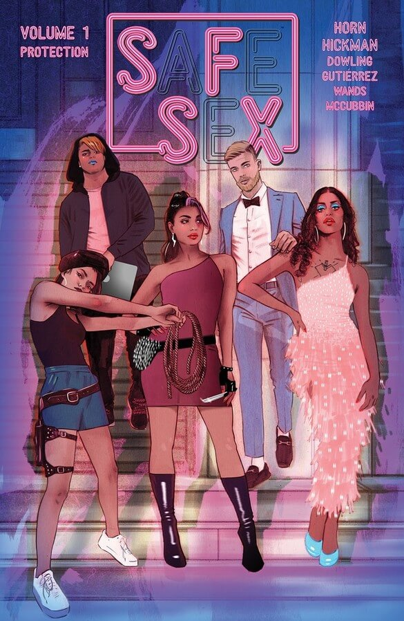 Five sexy people stand in front of a doorway in sfsx volume 1