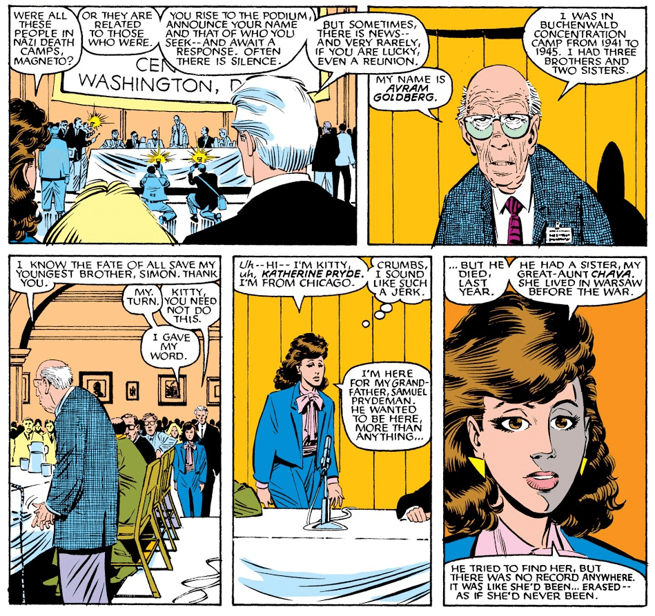 Kitty Pryde speaks for her grandfather at the National Holocaust Memorial in Uncanny X-Men #199 (Art by John Romita Jr and Dan Green)