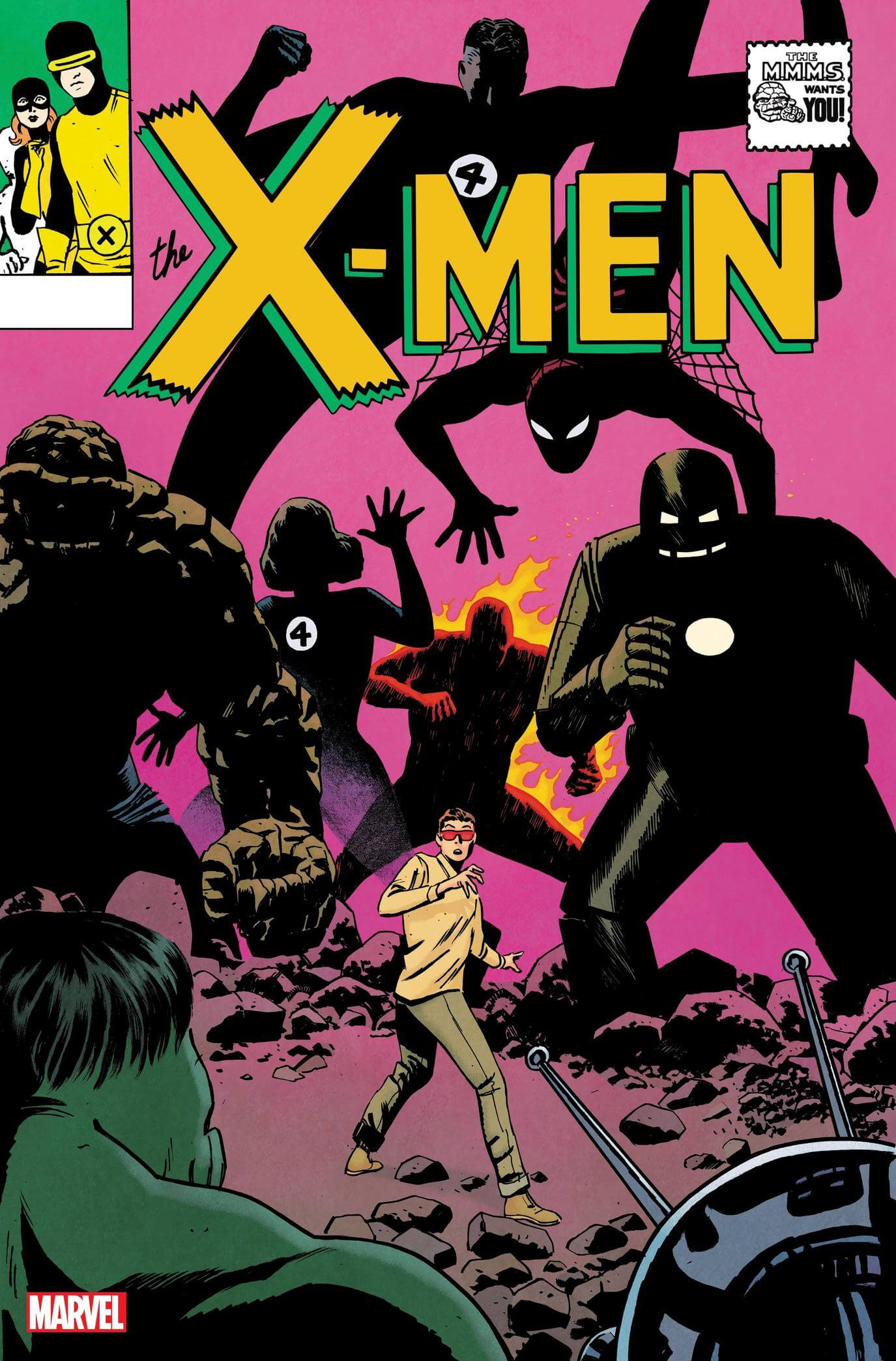 Tom Reilly Variant cover. Depicts an adolescent Scott Summers surrounded by dark and looming figures of the Fantastic Four, Iron Man, and Spiderman