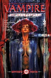 The cover of VTM #2 by Vault Comics; a very intense looking redheaded woman wearing a revealing shawl