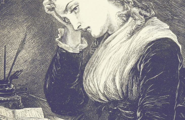 Black and white illustration of a early European woman holding her head with one hand tear rolling down her cheek, sitting in profile at a desk with an inkwell at the top of desk