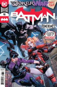 Harley and Punchline fighting with Batman behind them
