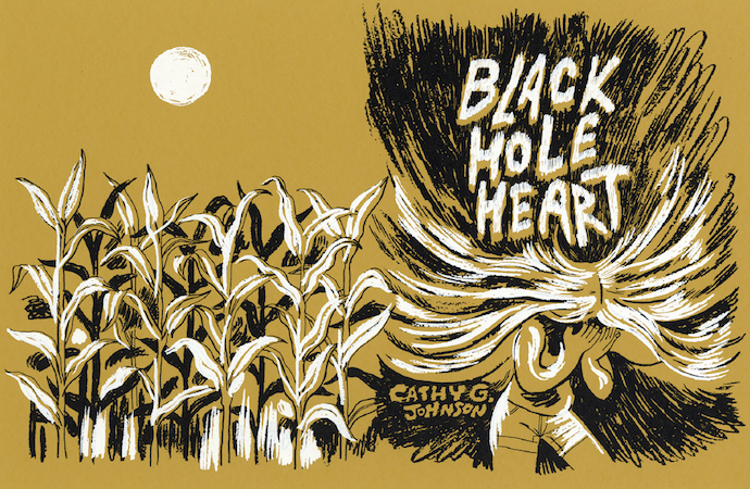 Full Black Hole Heart cover showing a girl with her hair exploding into the shaded background and stalks of corn.