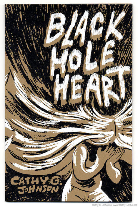 Black Hole Heart cover by Cathy G Johnson featuring a girl whose hair explodes into the shaded background