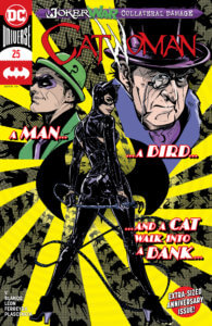 Catwoman with portraits of Penguin and Riddler