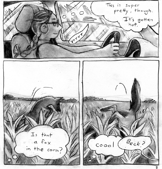 Panels from Black Hole Heart by Cathy G Johnson of Rebecca driving through fields and spotting a fox.
