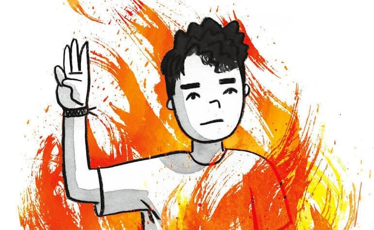 A drawing of a person surrounded by flames, holding up 3 fingers