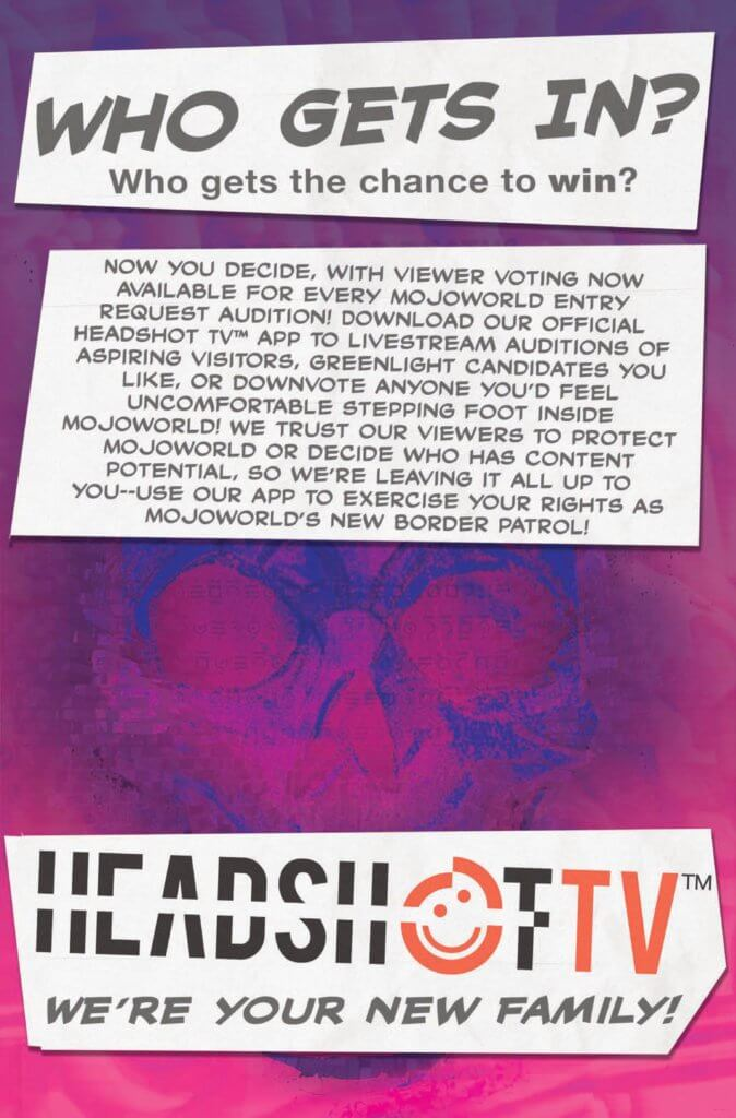 Interior page of X-Factor 2 (2020) by Williams, Baldeon, Shavrin, Muller, and Silva, depicting an ad for Headshot TV, Mojo's livestream app/network