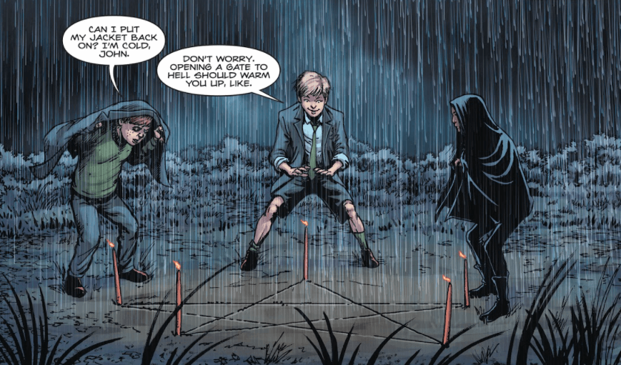 """A panel from Hellblazer: Rise and Fall #1 showing a young John Constantine and two friends standing around a pentagram drawn in the dirt. One friend says, """"Can I put my jacket back on? I'm cold, John,"""" to which John replies, """"Don't worry. Opening a gate to hell should warm you up, like."""""""