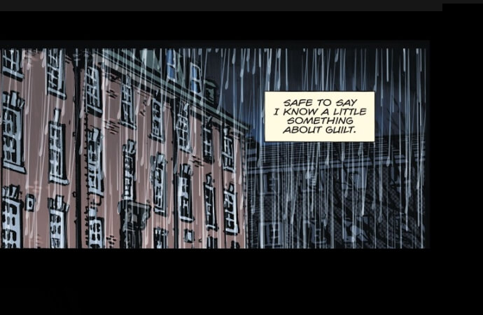 "A screenshot of a panel showing rain outside of a brick building, with a narration box reading, ""Safe to say I know a little something about guilt."""