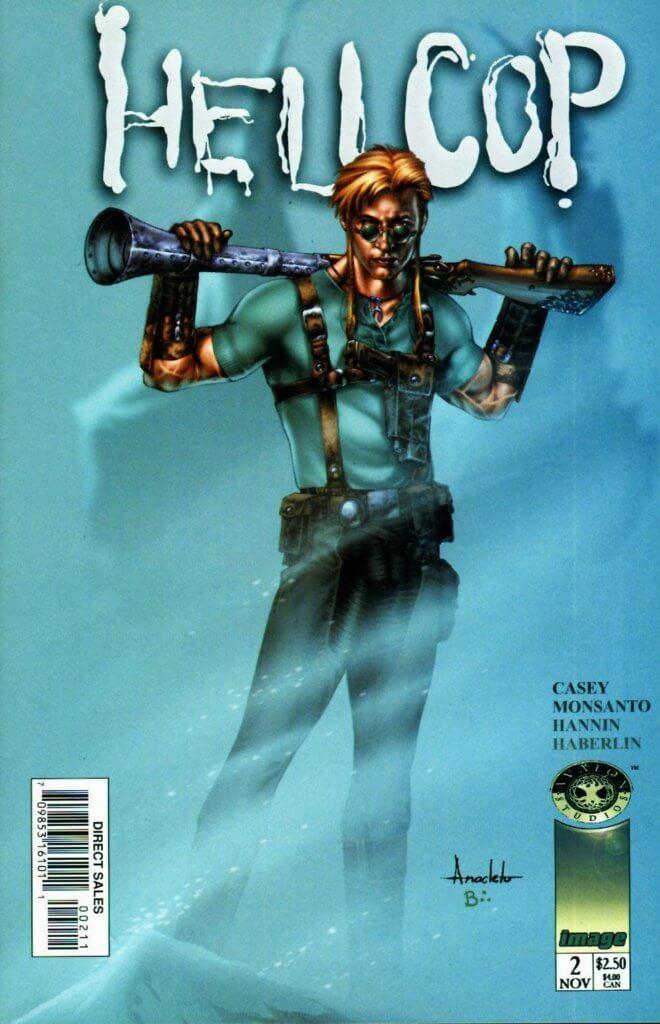 Hellcop #2 cover, Joe Casey, Golbert Monsanto, Brian Haberlin, 1998, Avalon Studios for Image Comics