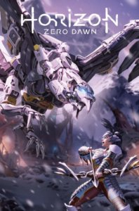 A woman in armor faces down an attack from a large mechnanical bird in a rocky landscape