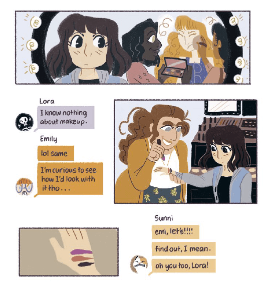A snippet from Lora's growing up montage, with text messages and snapshots of the girls at the mall trying makeup. From Seance Tea Party by Reimena Yee via Random House Graphic.