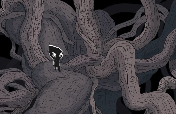A little black humanoid person stands among twisting vines