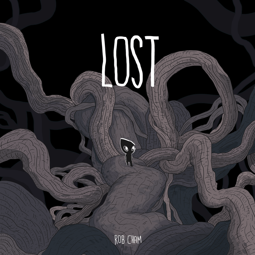 A little black humanoid person stands among twisting vines on the cover of Lost by Rob Cham