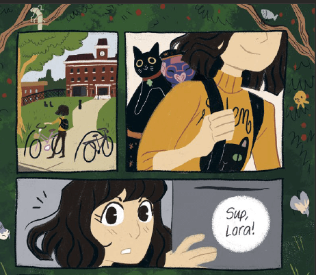 Panels of Lora arriving at school sit atop a lush forest background. From Seance Tea Party by Reimena Yee via Random House Graphice.