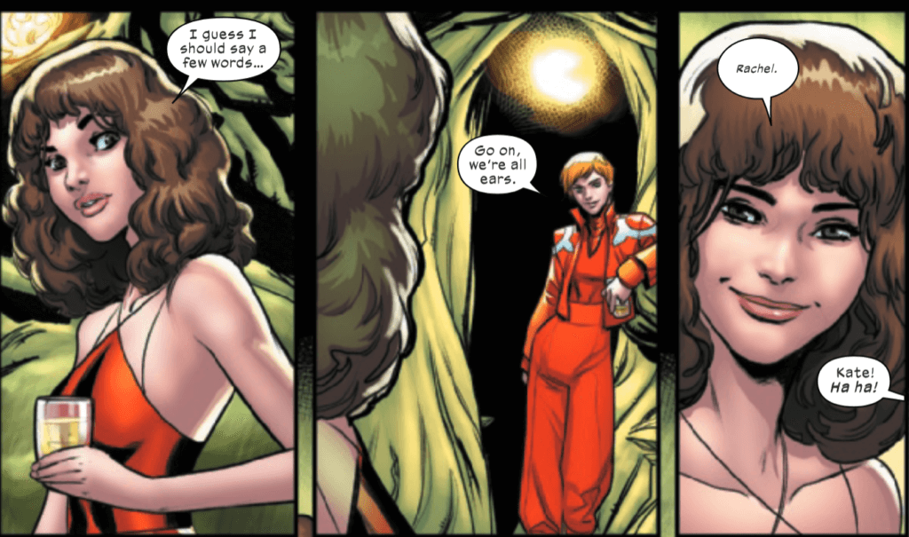 Kate sharing a moment with Rachel in Marauders #12
