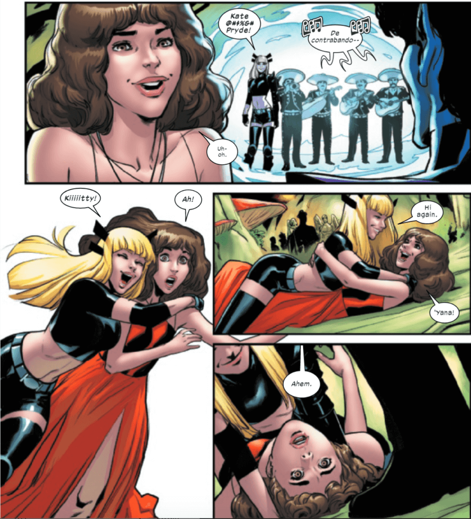 Kate being tackled and pinned by Yana in Marauders #12