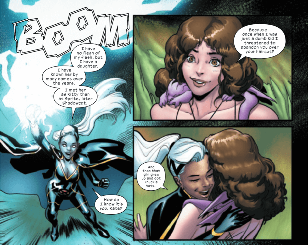 Kate being greeted by Ororo after her resurrection in Marauders #12