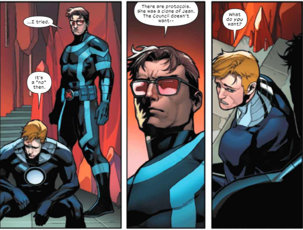 Scott and Alex Summers having a conversation in Hellions #4