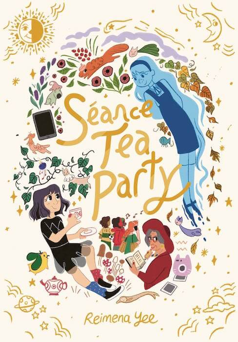 Seace Tea Party Cover by Reimena Yee with deisgn by Patrick Crotty. Shows Lora, Alexa, and Grandma Diana floating around the cover text, along with other symbols of fall.