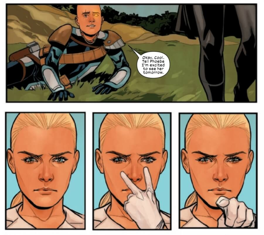 Emma Frost puts Cable on notice.