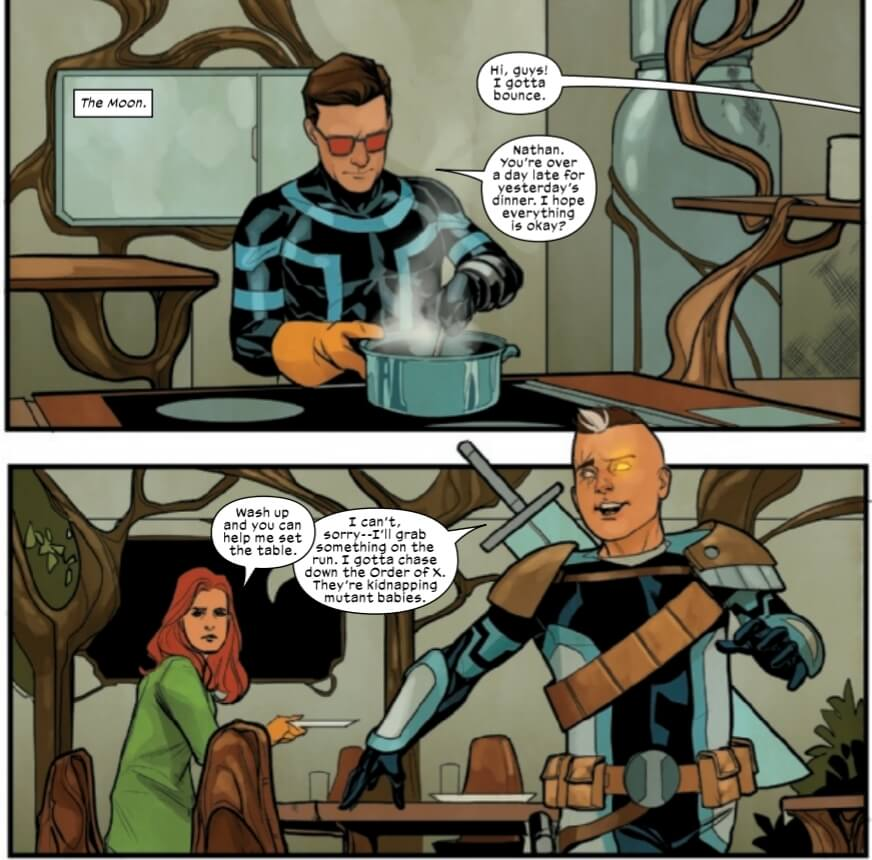 Cyclops cooks dinner as Cable comes home from his adventure.