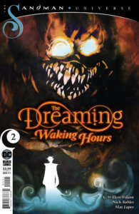 A creepy skull looming over two silhouettes - The Dreaming: Waking Hours #2 cover by Robles