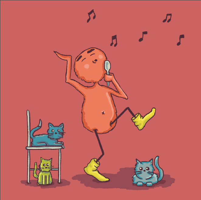 DIllustration of a fuzzy person singing into a spoon as their cats look on.