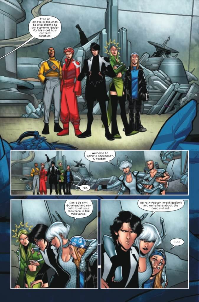 Page 3 of X-Factor (2020) Issue 3 by Williams, Baldeon, Silva, Shavrin, Muller, and Caramagna,showing Spiral talking to X-Factor