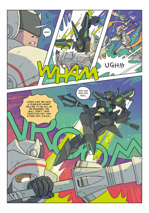 Cosmoknights page 36 depicting an action sequence from the comic