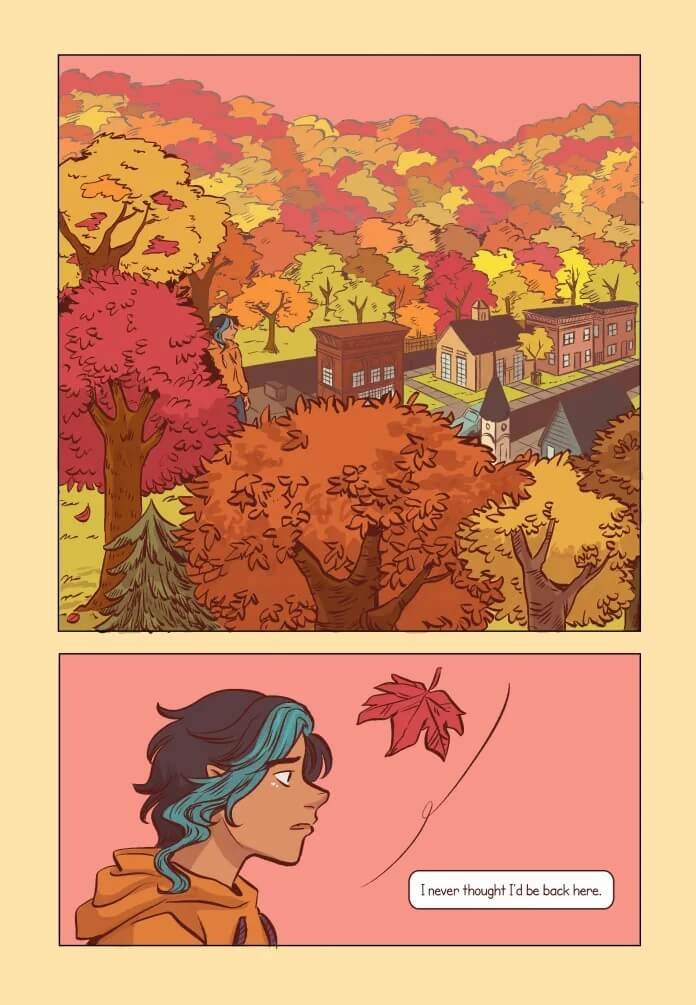 "A figure stands in a wide shot of a scenic, autumnal town filled with many trees. In a close-up shot of the figure in the following panel, a text box reads, ""I never thought I'd be back here."""