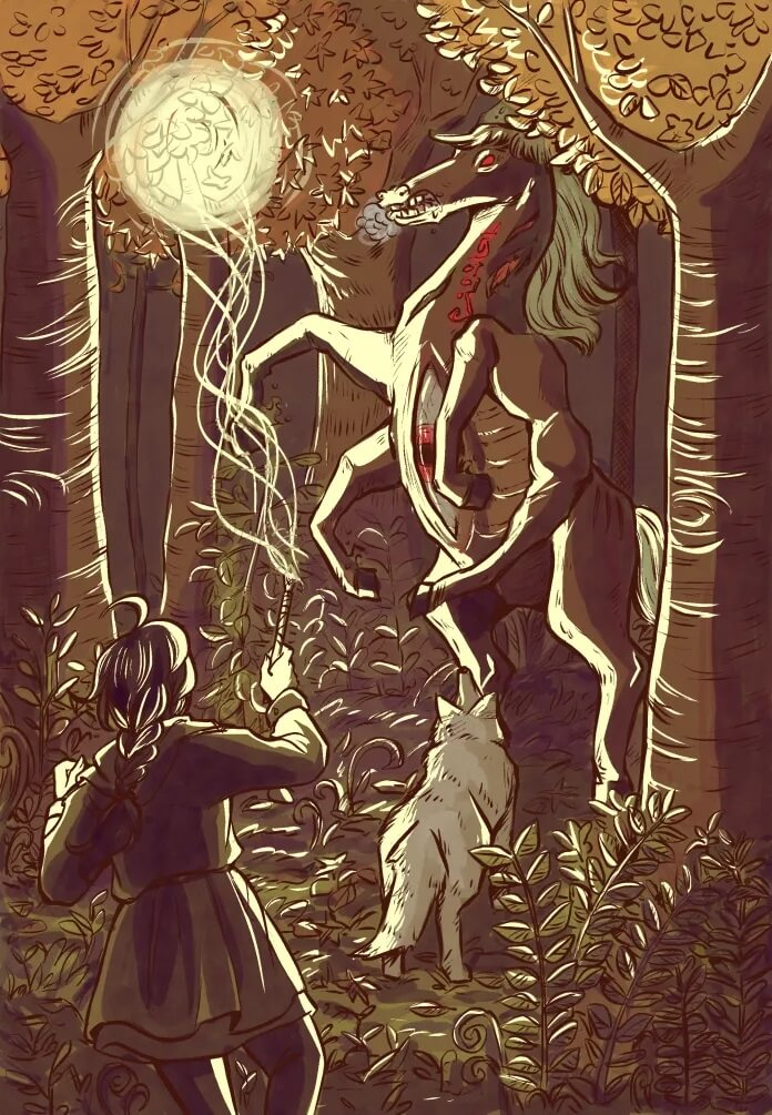 Through a cluster of trees, a horse-like monster with six legs stands on its hooves with an aggressive expression. A white wolf is standing at the base of its feet. In the foreground, a girl points her wand and a beam of light energy bursts towards the monster's direction.