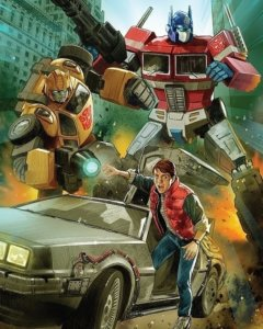 Transformers x Back To The Future retailer exclusive variant cover showing Optimus Prime, Bumblebee and Marty McFly