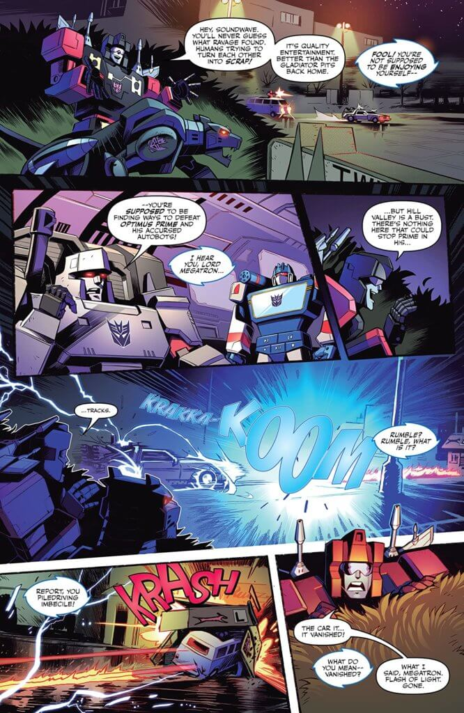 A colorful comic page from Back to the Future/Transformers #1 (IDW, October 2020)