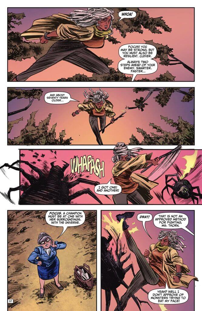 Lottie fights monsters in Ash & Thorn Volume 1 Ahoy Comics (October 2020)