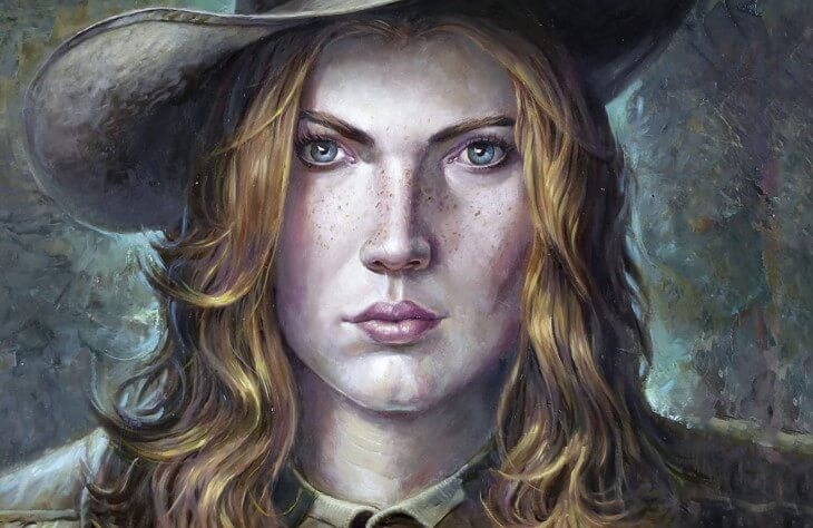 Portrait of a redheaded cowgirl