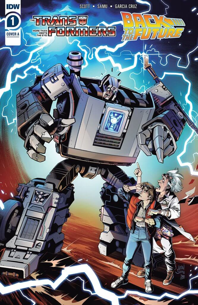 A Transformers-style take on the DeLorean from the Back to the Future series (notable for the date and time readout. Marty (a teenager in a plaid shirt, vest and jeans) and Doc (a mad scientist with grey hair) gawk up at him while lightning crackles in the background.