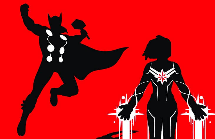 Silhouettes of Thor and Captain Marvel