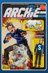 Jughead Jones, a tall and rangy teenager in a blue letterman shirt with a white S on it and stovepipe pants as well as a jester's crown - chomps on a hot dog as his dog - also named Hot Dog, a white and furry sheepdog - rushes between his legs toward the viewer. The Archie logo is drawn similarly to the GI Joe logo, and the cover has a design similar to the card backing of an action figure, complete with the character drawn as a jointed figure beneath a plastic blister bubble.