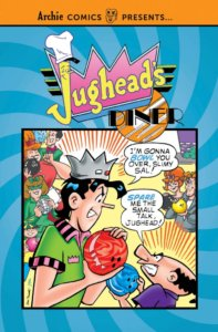 Jughead Jones, a tall and rangy black haired teenager in a fool's cap and a green bowling shirt menacingly holds a red bowling ball. He stands before a snout-nosed purple shirted short and balding dark-haired man holdiing a blue ball. Behidn them various 50sish drawn characters loom. The cover is blue, and over them looms the pink and yellow and black Jughead's diner logo