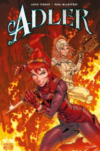 Against a fiery background, a red haired woman in arm wields a small sword, while a blond woman with curly hair holds a ray gun