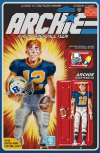 Archie Andrews, a teenager in a blue and gold football uniform with white pants, looks cheerfully toward the reader, his white and blue helmet under his right arm. He has red hair and white skin, as well as freckles. The Archie logo is drawn similarly to the GI Joe logo, and the cover has a design similar to the card backing of an action figure, complete with the character drawn as a jointed figure beneath a plastic blister bubble.