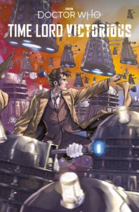 The Tenth Doctor, holding his sonic screwdriver, is surrounded by Daleks.