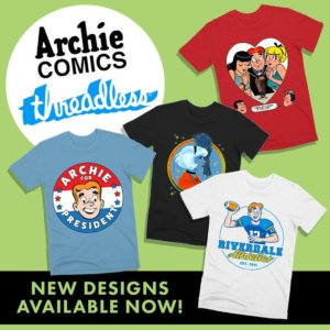 Graphic for the Archie Comics Threadless shop - green background, blue cursive threadless logo. Sprinkled about the graphic are various designs availible at the shop - such as a red white and blue Archie for President logo and a red-back graphic of Archie, Betty and Veronica sharing a soda