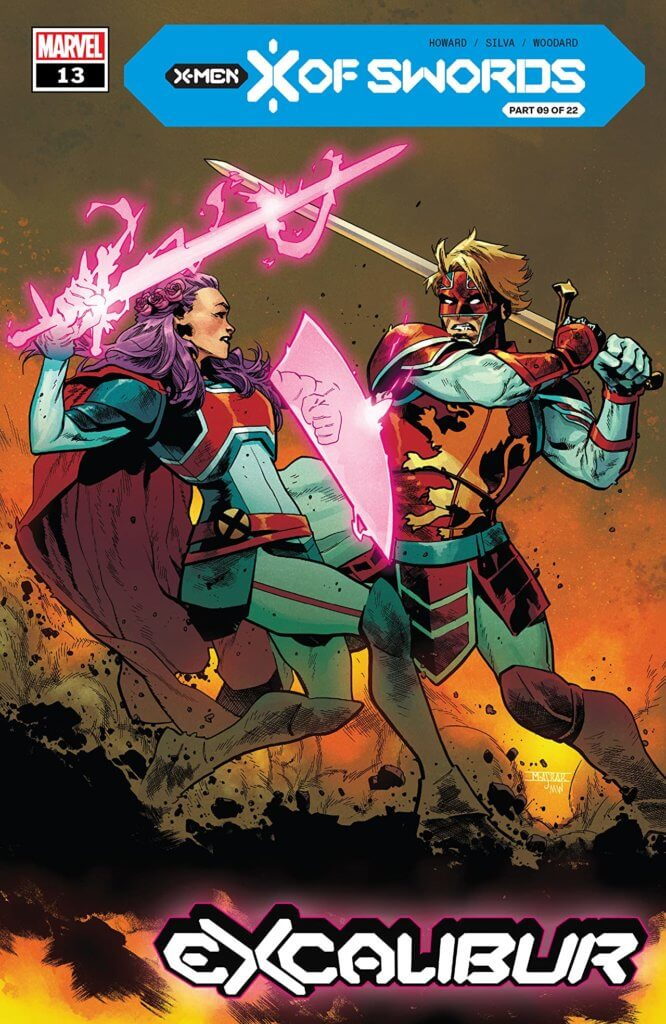 Betsy and Brian sword fighting on the cover of Excalibur #13